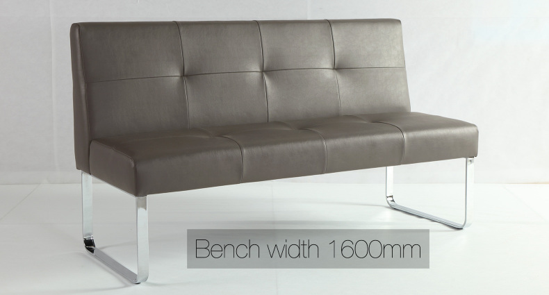Genoa Soft Grey Dining Bench with Backrest