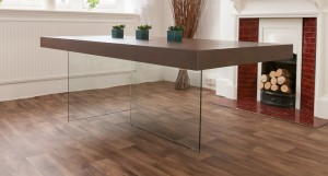 Aria Glass and Espresso Dark Wood Dining Table