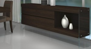 Aria Glass and Espresso Dark Wood Sideboard