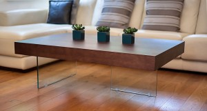 Aria Glass and Espresso Dark Wood Large Coffee Table