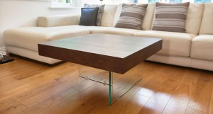 Aria Glass and Espresso Dark Wood Small Coffee Table