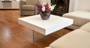 Aria Small White Oak Coffee End Table