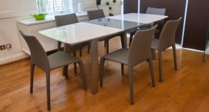 Assi White and Grey Gloss Extending Dining Table
