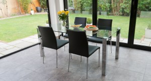 Tiva Large Glass and Chrome Dining Table