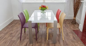 Angola White Gloss and Argenta Dining Set