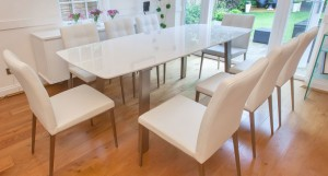 Assi White Gloss and Moda Extending Dining Set