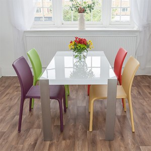 Angola White Gloss and Argenta Dining Set £509.00