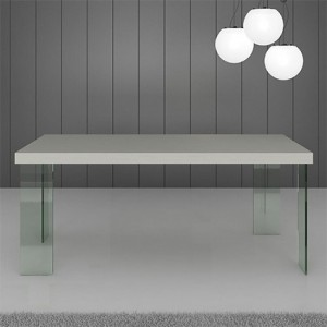 Calanna White Gloss and Glass Dining Table