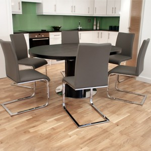 Curva Black Ash and Verona Extending Dining Set £935.00
