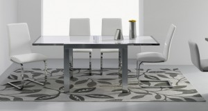 Marsala Chrome Extending Glass Dining Table £599.00 shown with Bahia Chairs