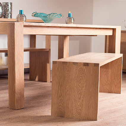 Naturale Washed Oak Dining Bench Extending Dining Set