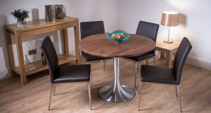 Florence Large Round Solid Walnut and Lucia Dining Set £825.00