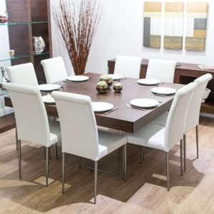 Aria Espresso Dark Wood Square and Tod Dining Set £1239.00