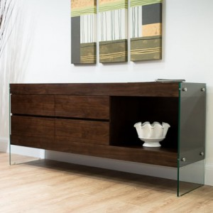 Aria Espresso Dark Wood and Glass Sideboard £549.00