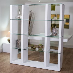 Aria Glass and White Oak Shelving Unit £599.00