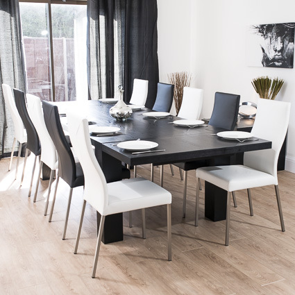 Carlo Black Ash Extending and Iva Dining Set £1339.00