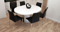 Curva White Gloss and Elise Extending Dining Set £895.00