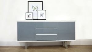 Assi grey & white sideboard helps to create a softer version of the monochrome look