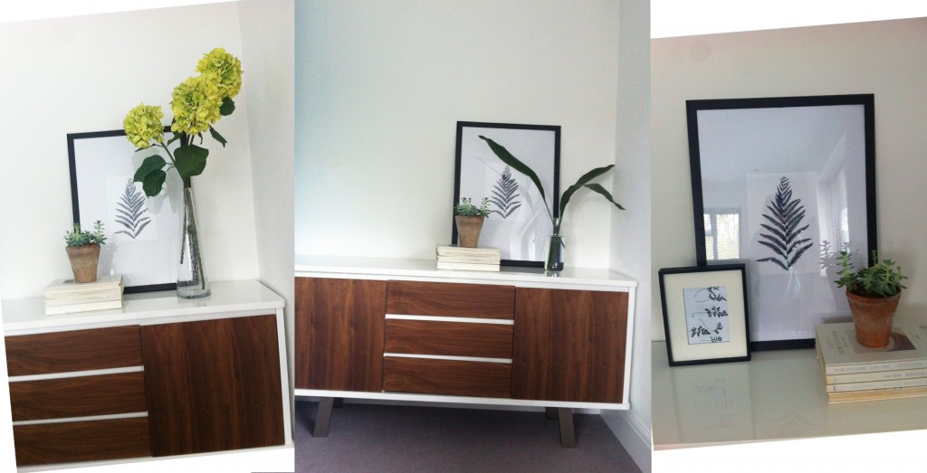 Assi White Gloss and Walnut Sideboard