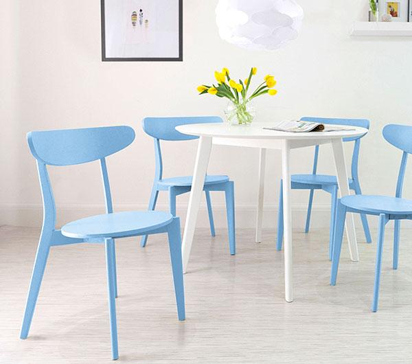Terni Round White and Senn Colourful Dining Set