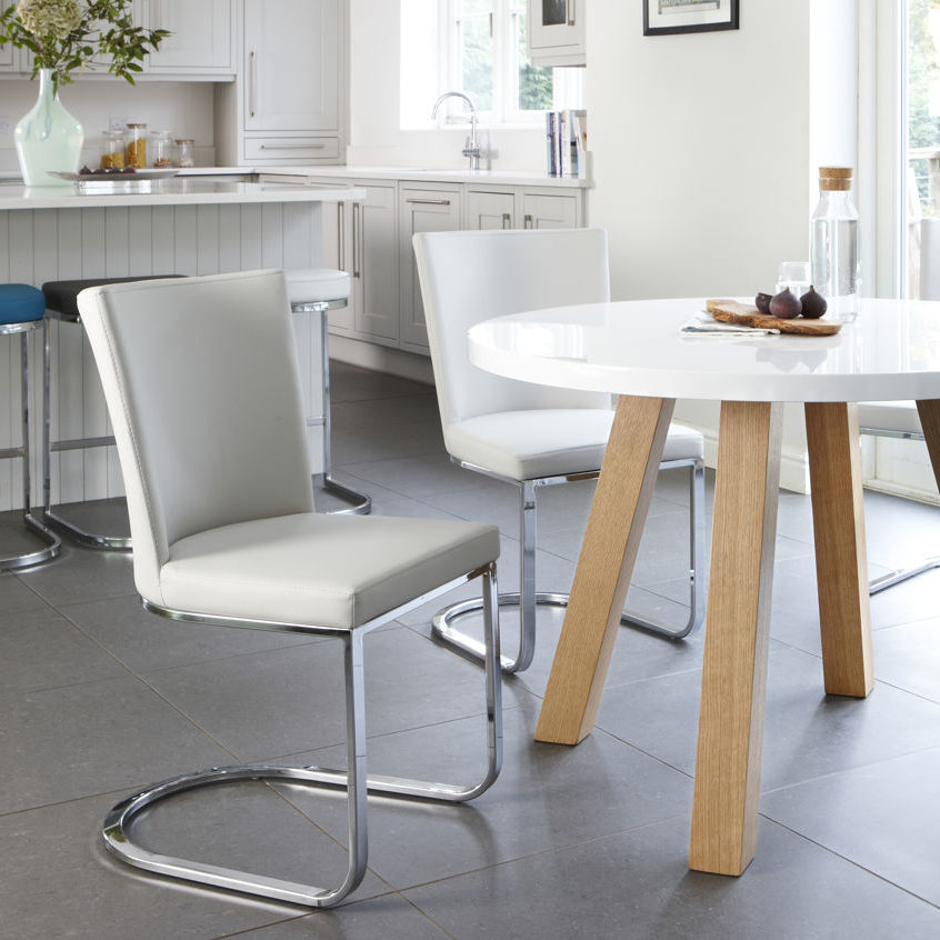 Arc and Form 4 Seater White Gloss and Oak Dining Set