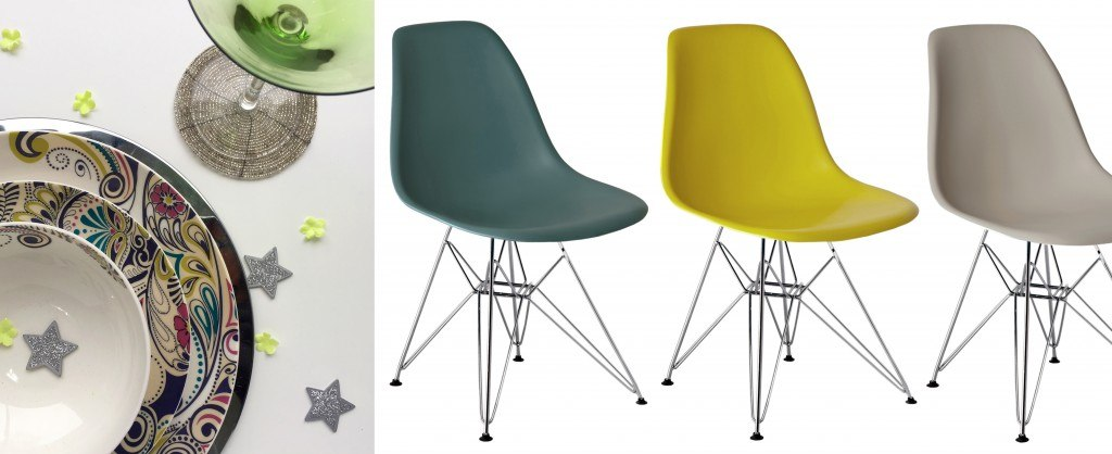 Colourful Eames Wire Frame Dining Chairs