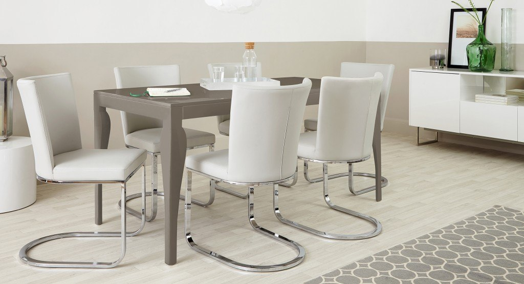 Six Seater Modern Taupe Grey Gloss and Cantilever Dining Set
