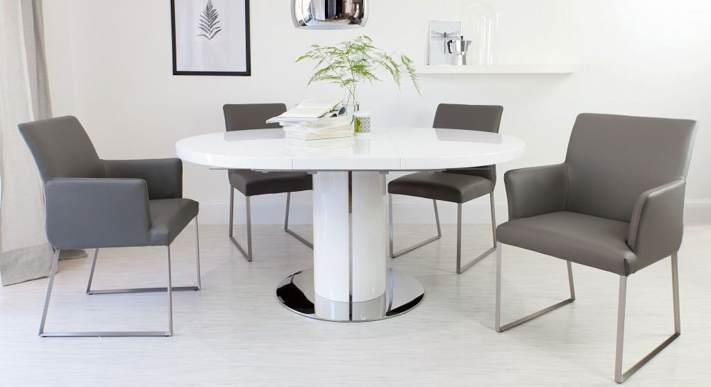 Modern Extending Dining Set with Leather Chairs UK