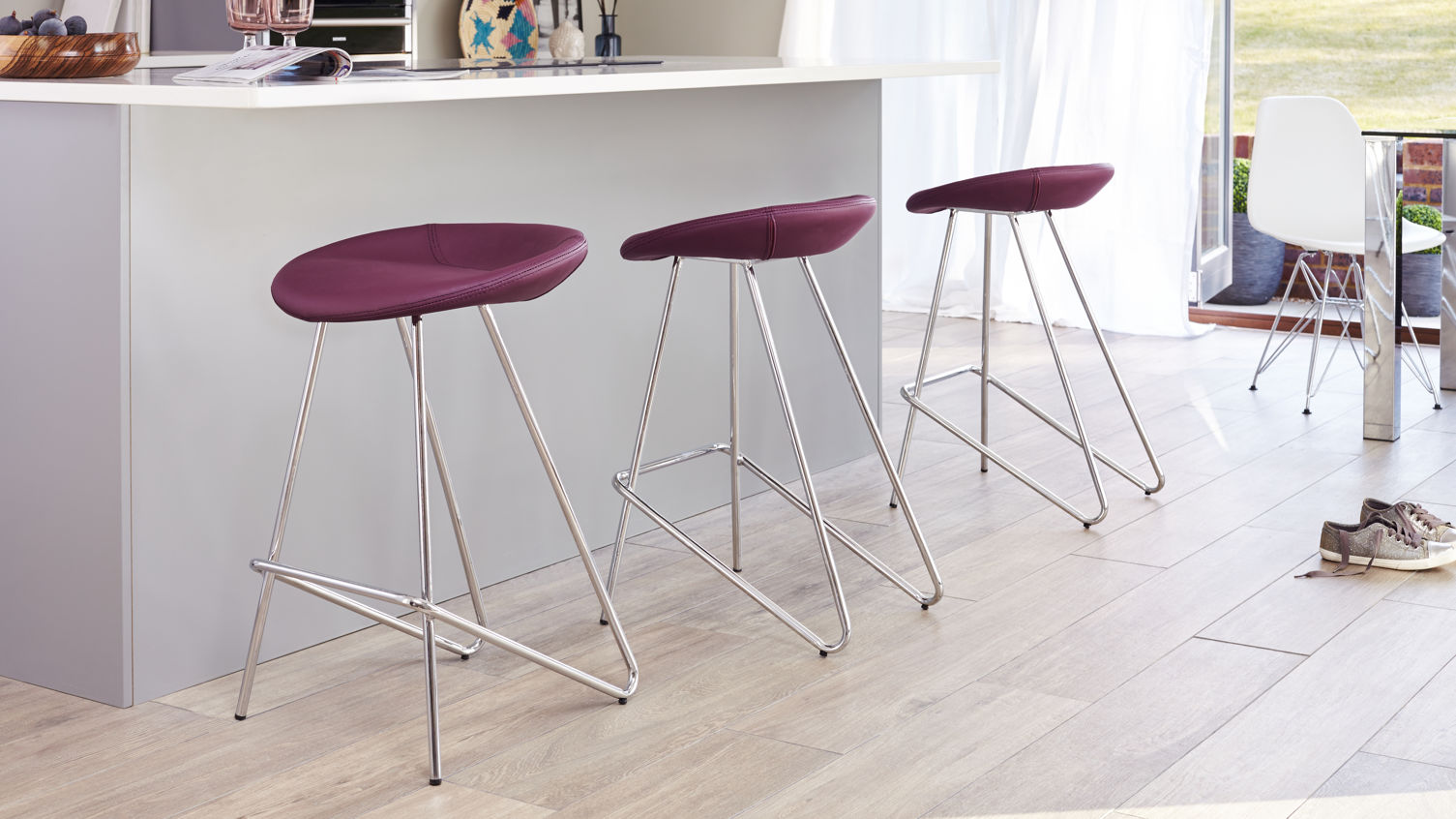Anzio Modern Bar Stool in mulberry purple Danetti