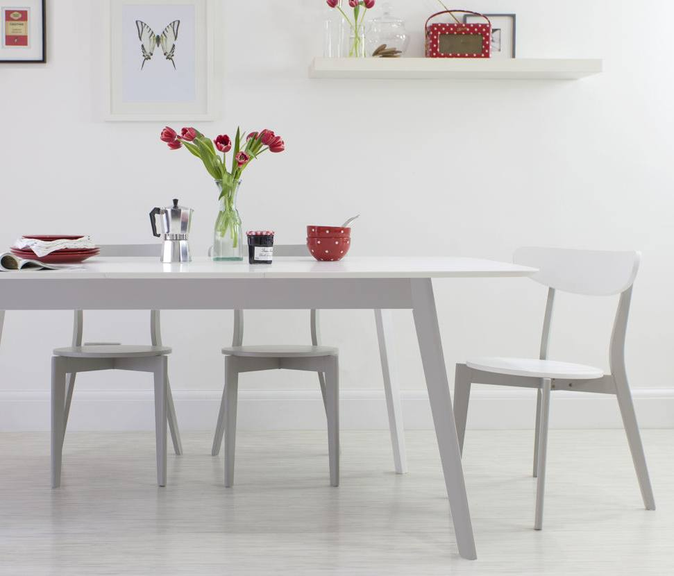 Aver Grey and White Extending Dining Set Danetti