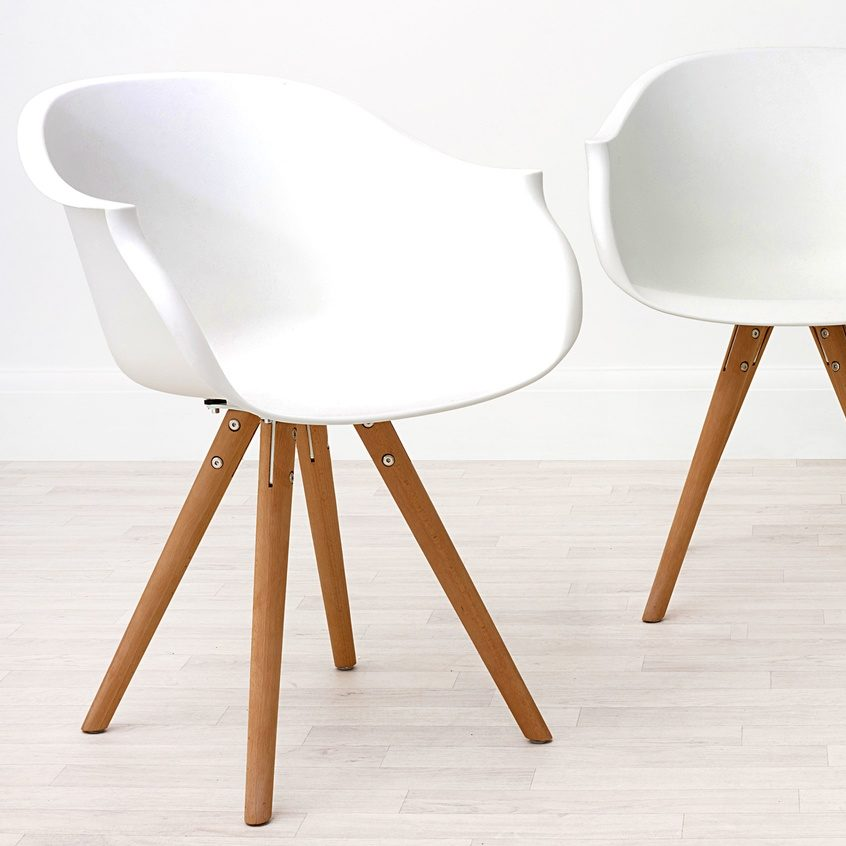 Finn Plastic Dining Armchair in White, £55