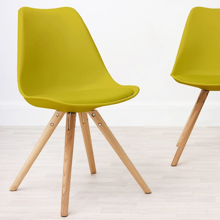 Ida Yellow Plastic Dining Chair in Yellow, £65