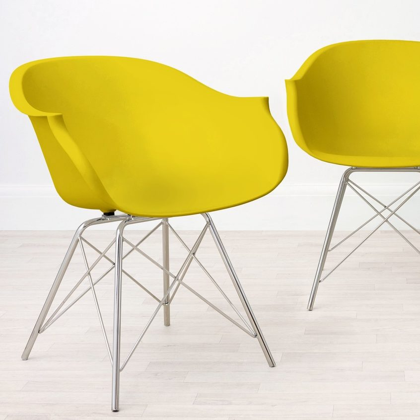 Finn Plastic Dining Armchair in Yellow, £59