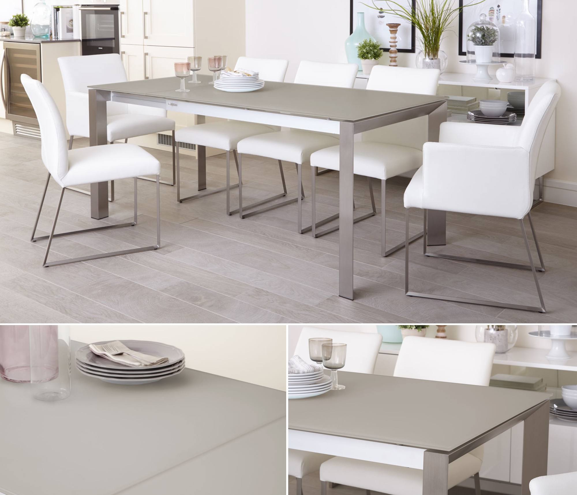 Grey Frosted Glass Table Finish - Eve Frosted Glass Extending Dining Table in Grey and Brushed Metal Dining Table