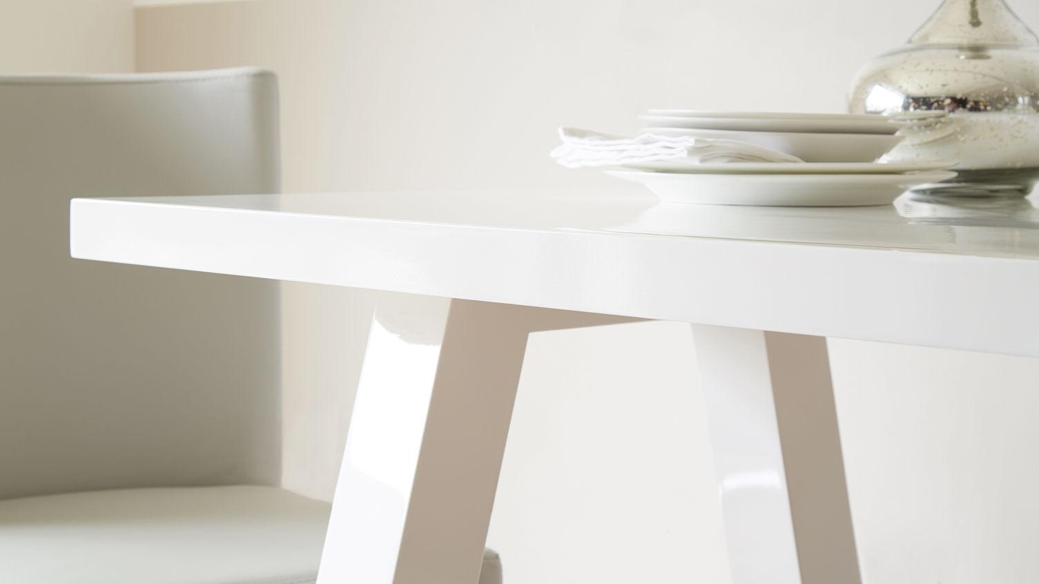 White Gloss Table Finish - Zen 6 Seater White Gloss Dining Table