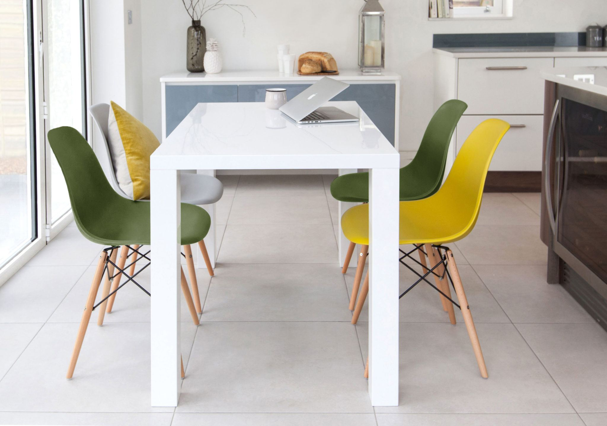 Fern White Gloss and Eames Chairs Dining Set