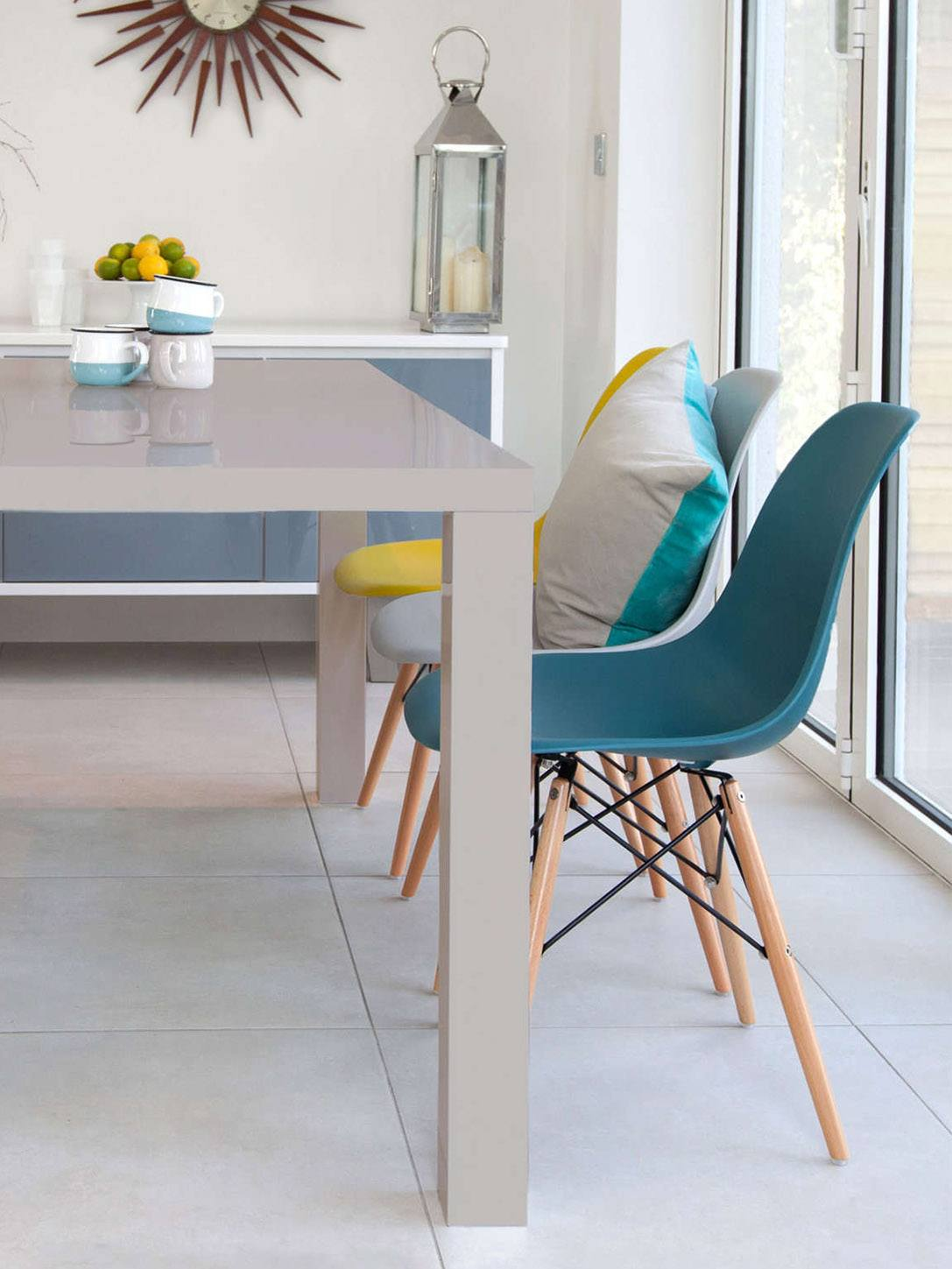 Eames Chairs and Fern Grey Gloss Dining Table