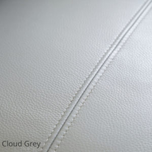 wren leather swatch in cloud grey