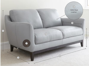 Robin 2 seater leather sofa size and detail
