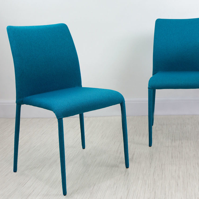 Riva Stackable Fabric Dining Chair in Teal, £69