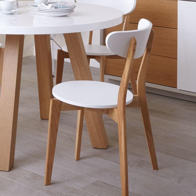 Senn Oak and White Dining Chair, £55