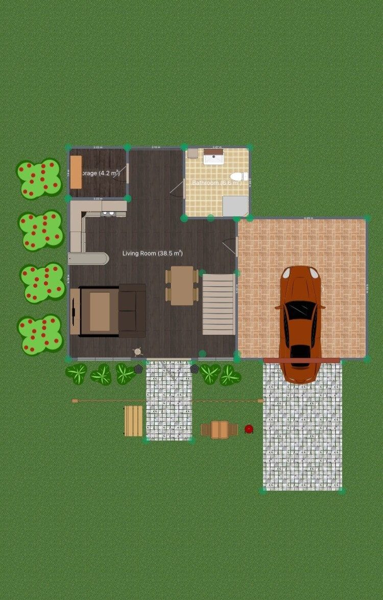 The 2D view is great for creating floor plans and seeing how much space you have to work with.