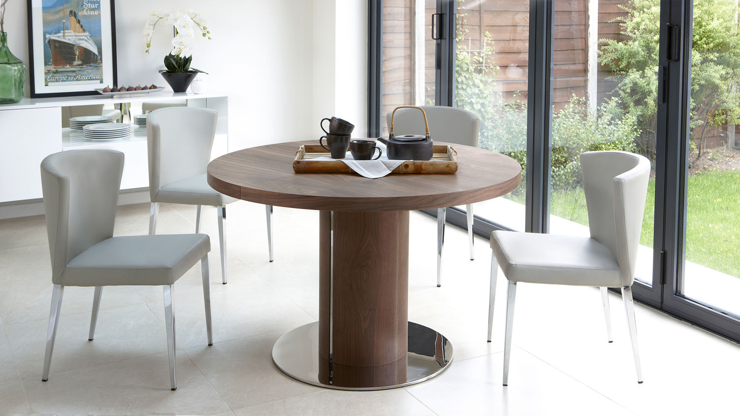 Curva Walnut Extending Dining Set