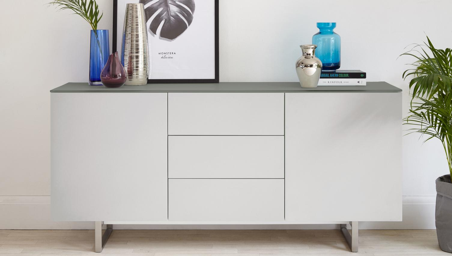 Eve Frosted Grey Glass and Matt Grey Sideboard