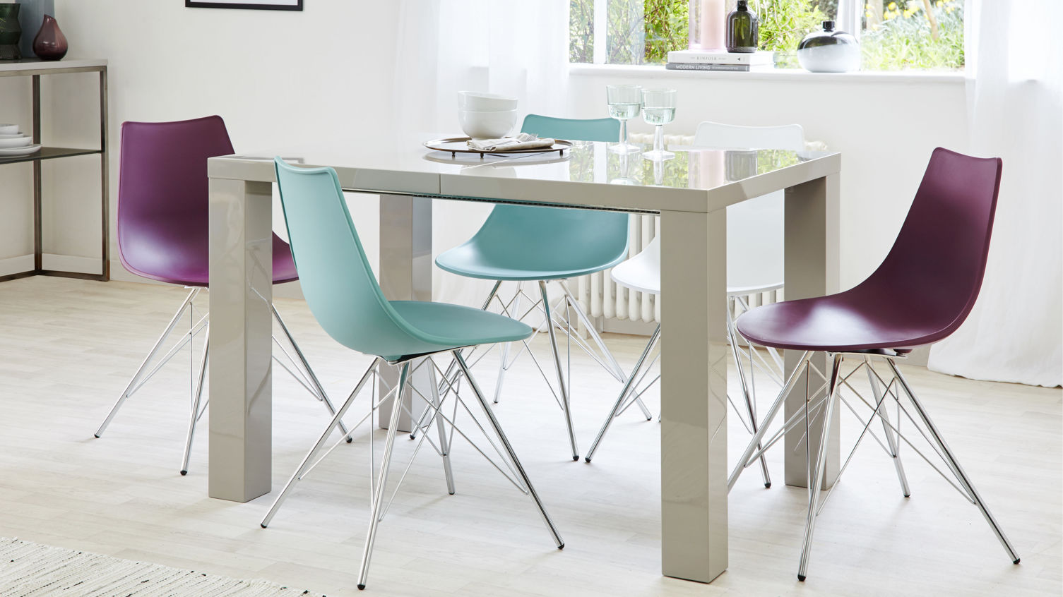 Fern Grey Gloss Extending Dining Table
