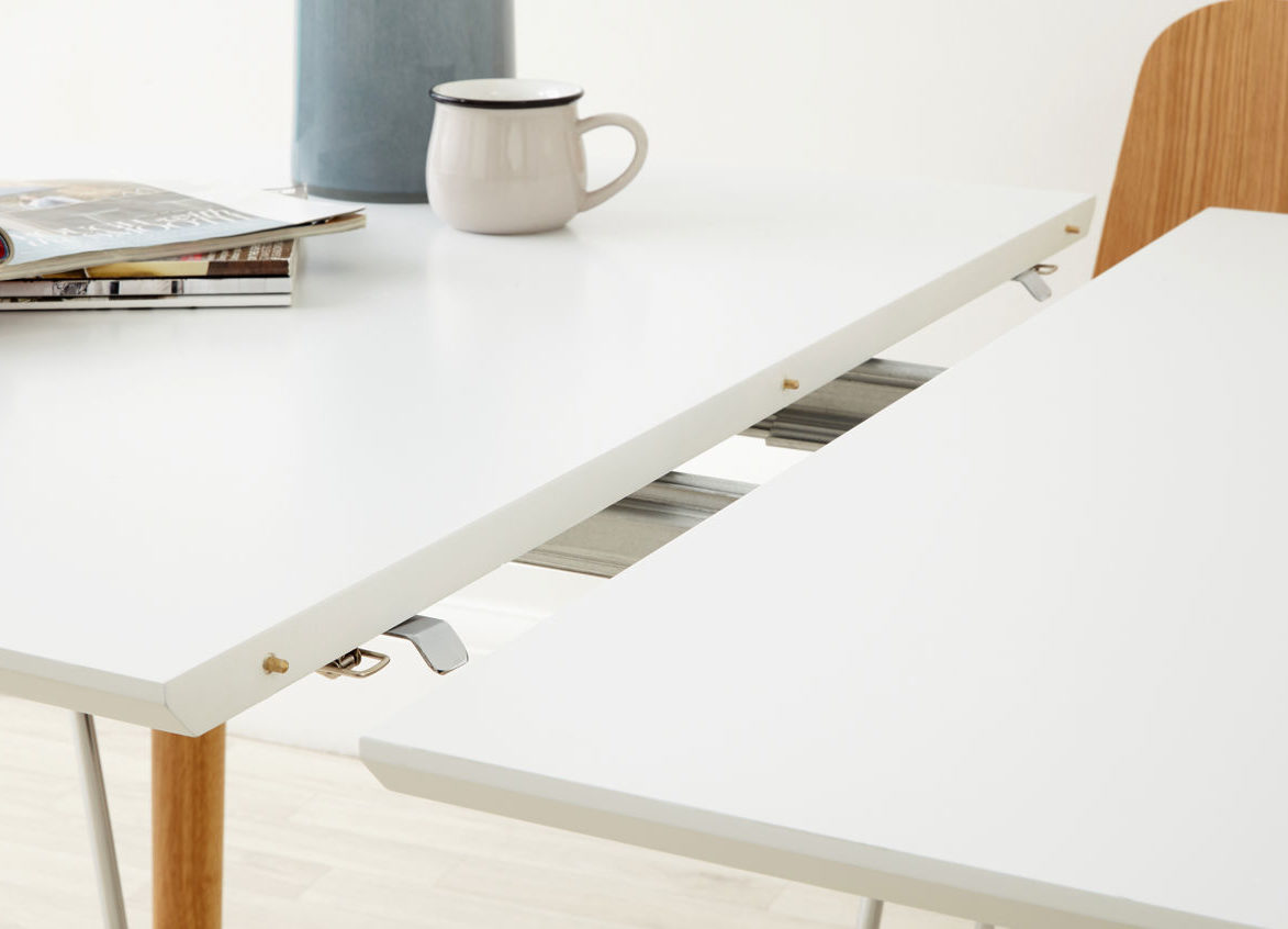 The Luka Matt White Extending Dining Table