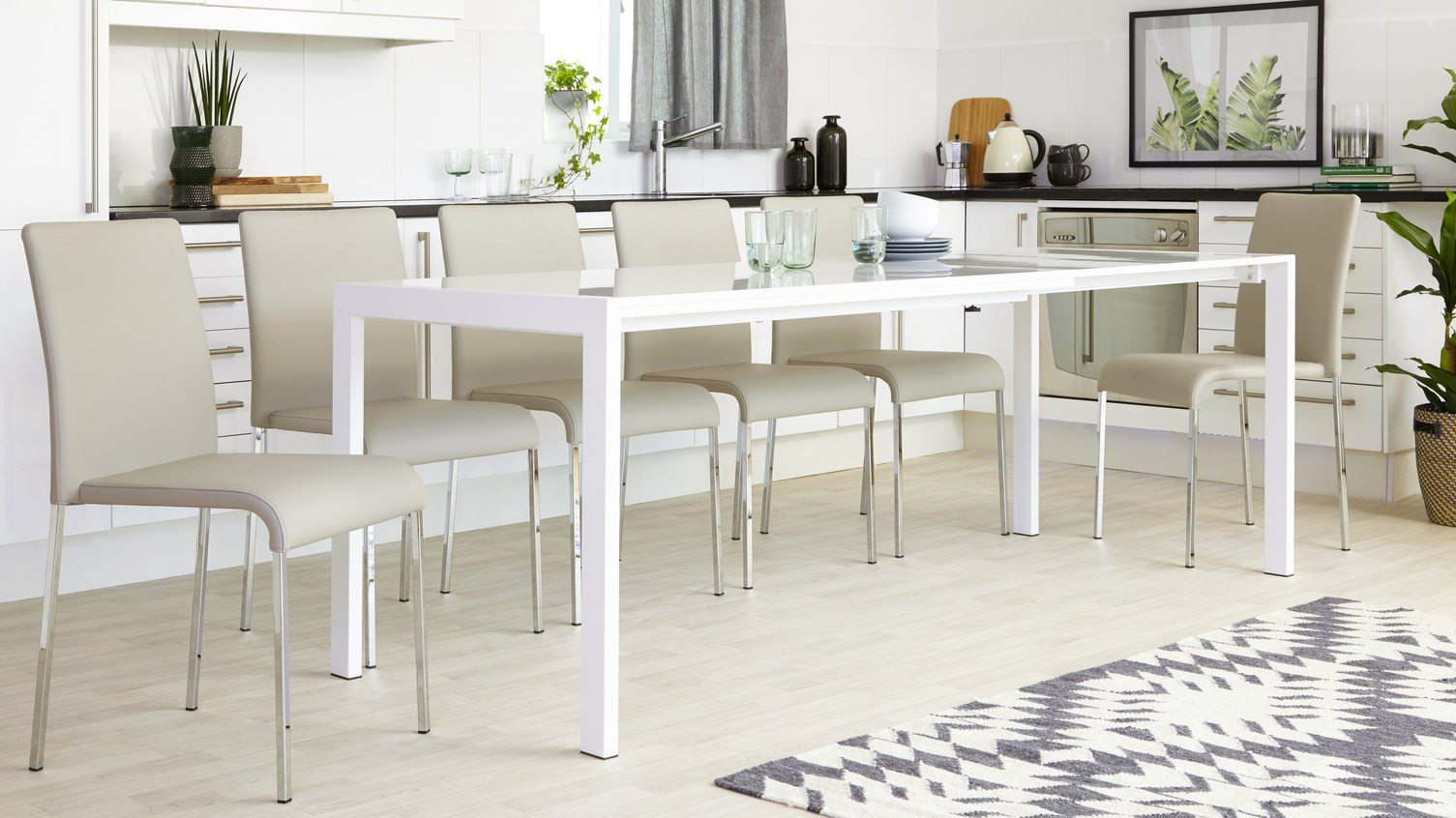 Metro White Gloss and Tori Extending Dining Set