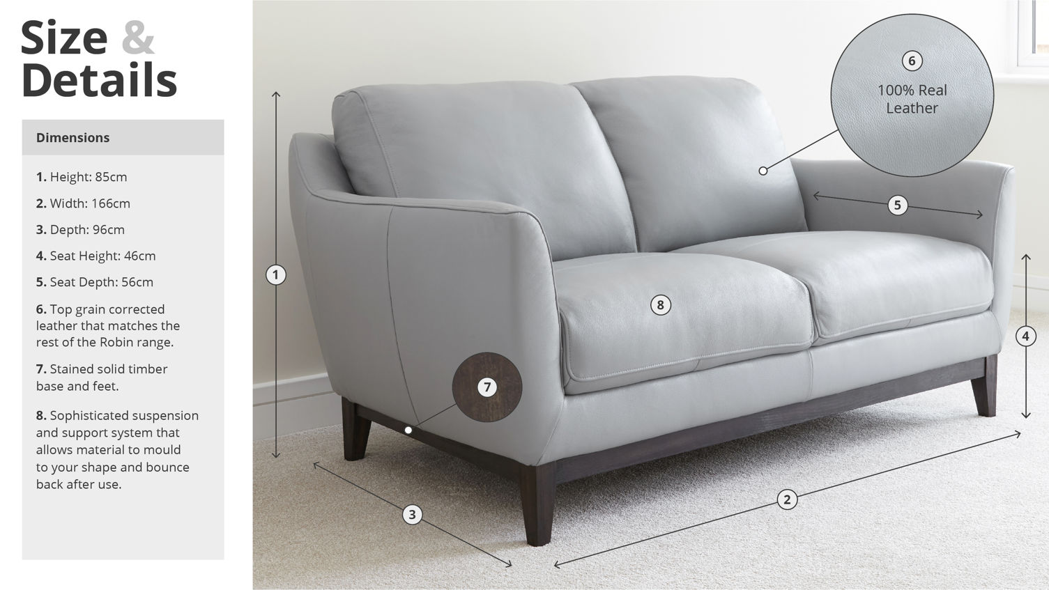 Robin 2 Seater Leather Sofa Sizing