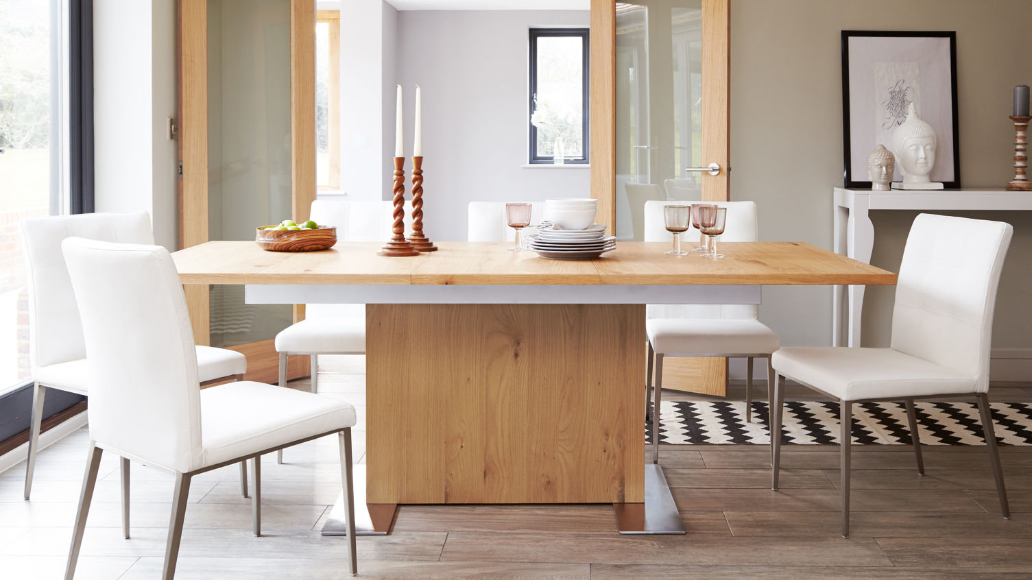 Sanza Oak and Moda Extending Dining Set