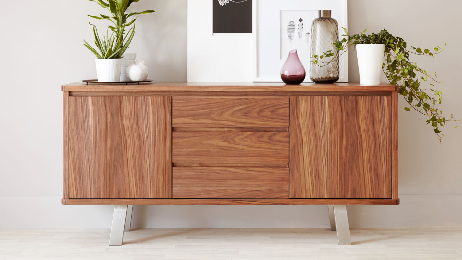 Assi Walnut Wood Veneer Sideboard